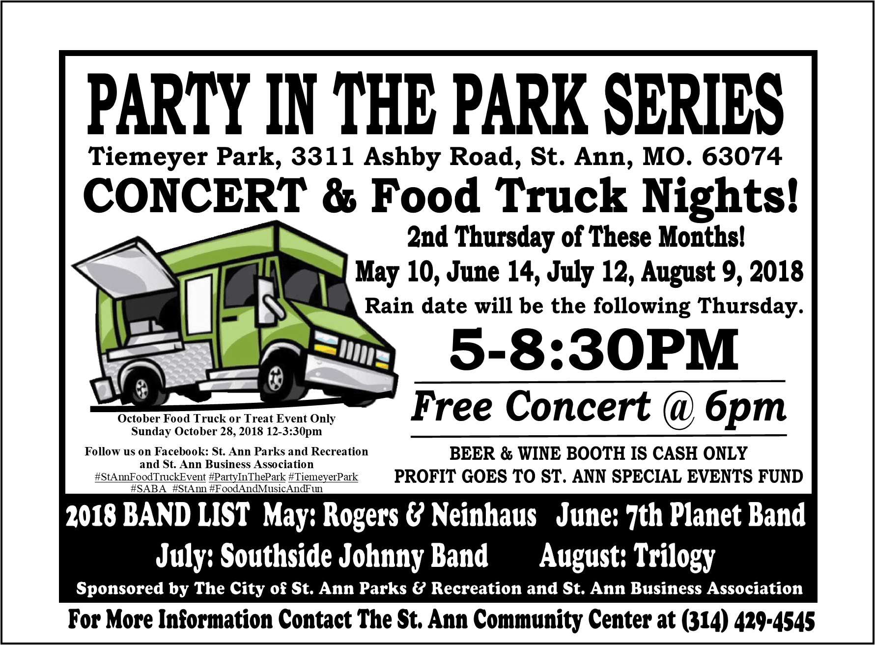 2018 Party in the Park Series Flyer