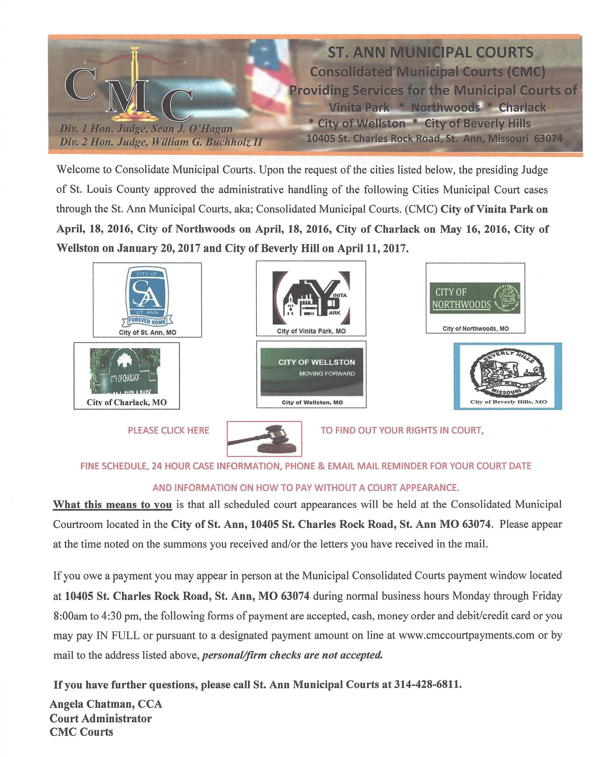 Consolidated Municipal Court   Saint Ann, MO - Official Website